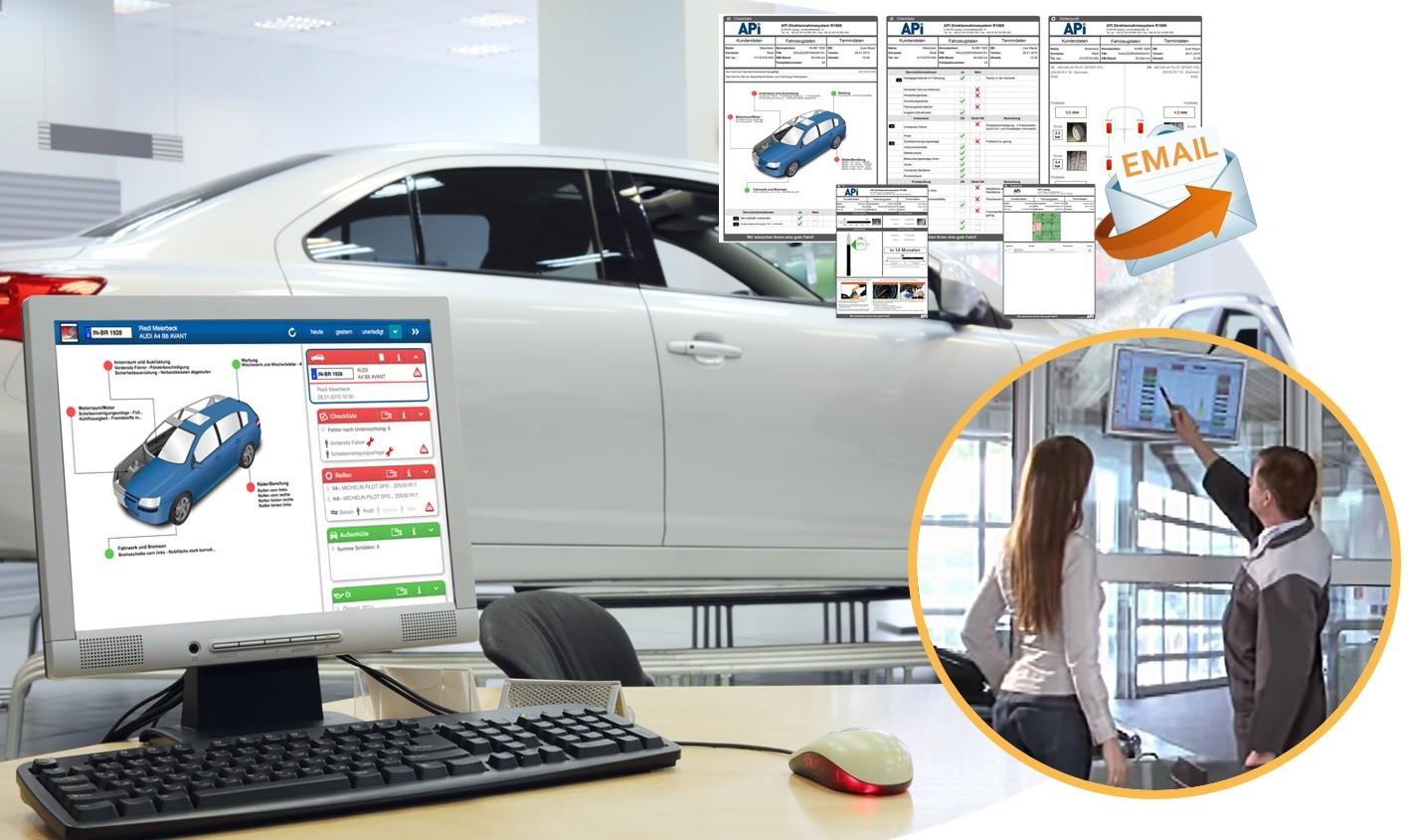 Der Roboter für die berührungslose Fahrwerksvermessung ist ein selbsttragendes marketinginstrument für Ihr Autohaus